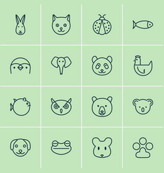 zoology icons set collection of bunny grizzly vector image