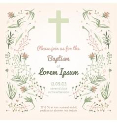 Baptism invitation card vector image