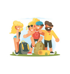 Cheerful friends guys and girls vector