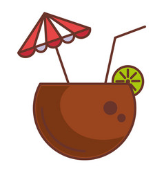 coconut cocktail with umbrella vector image