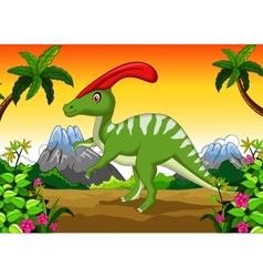 Dinosaur Parasaurolophus cartoon in the jungle vector image
