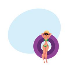 girl woman in bikini and sunglasses floating on vector image vector image