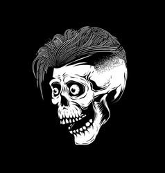 hipster skull on white background design element vector image vector image