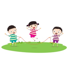 Little Kids skipping vector image