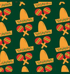 mexican hat and maracas folkore culture vector image
