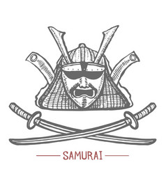 samurai mask and swords in hand drawn style vector image