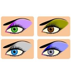 Attractive female eyes with vibrant eye shadow vector image