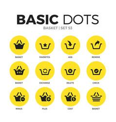 basket flat icons set vector image