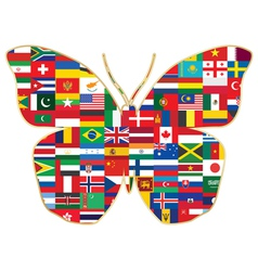 butterfly made of flags vector image vector image