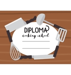 Cooking school diploma vector image vector image