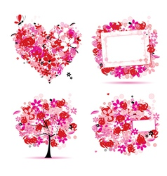 summer pink tree frame vector image vector image