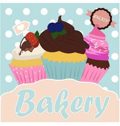 vintage cupcake poster design vector image vector image