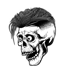 hipster skull isolated on white background design vector image vector image