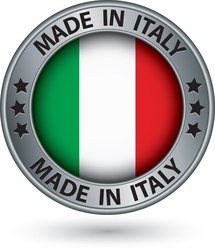 Made in Italy silver label with flag vector image vector image