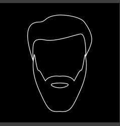 head with beard and hair white color path icon vector image vector image