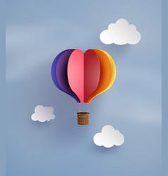hot air balloon in a heart shape vector image vector image