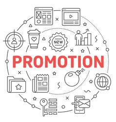 line flat circle promotion vector image vector image