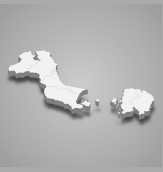 3d isometric map bangka belitung islands vector