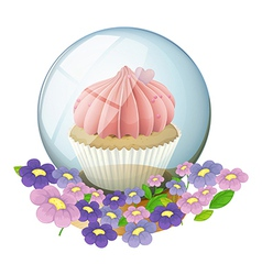 A crystal ball with a cupcake inside vector