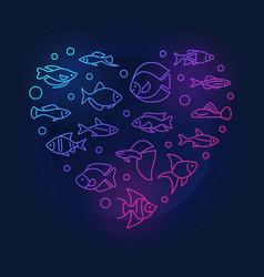aquarium fish in heart shape colored line vector image