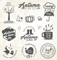 Autumn and Badges Set vector image