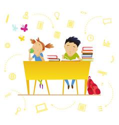 back to school cute schoolchildren at a lesson vector image