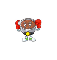 Baked beans in bowl with boxing mascot vector
