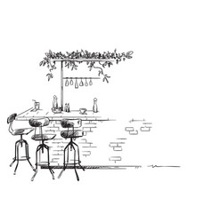 bar interior sketch bar stand drawing vector image