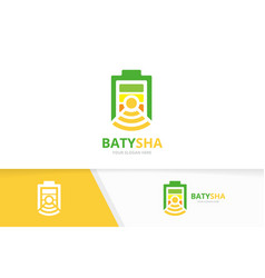 battery and wifi logo combination energy vector image