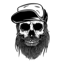 bearded skull in baseball cap design element for vector image