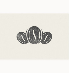 Black silhouette coffee beans hand drawn stamp vector