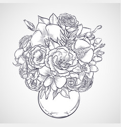 bouquet of flowers of lisianthus and orchid vector image