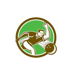 Bowler Throwing Bowling Ball Circle Retro vector image
