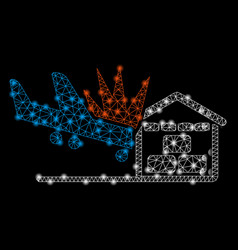 Bright mesh 2d airplane hangar crash with flare vector