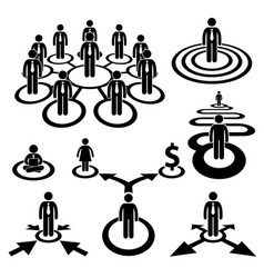 business businessman workforce team stick figure vector image