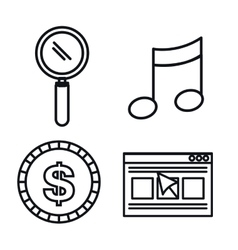 business set flat icons vector image