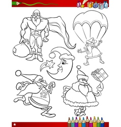 cartoon christmas themes coloring page vector image