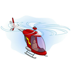Cartoon red cute helicopter flying in sky vector
