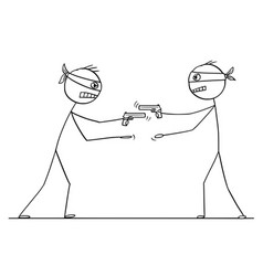 cartoon two men with gun trying to rob each vector image
