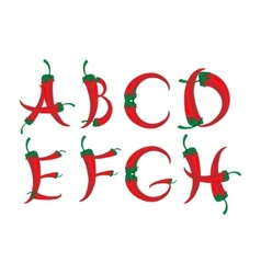chili peppers alphabet vector image