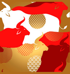 chinese new year ox herd gold red seamless pattern vector image