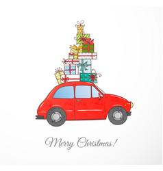 Christmas card with vintage red car carrying gift vector