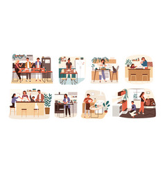 collection of people cooking in kitchen serving vector image