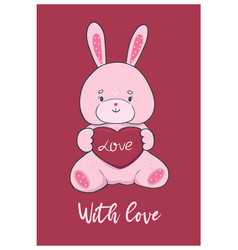 cute valentine s day card with bunny toy vector image