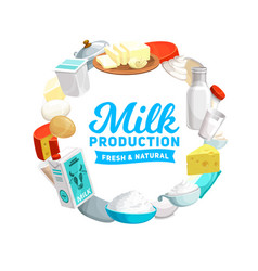 Dairy products icon farm milk cheese eggs vector