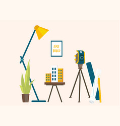 designers workplace for creating projects vector image