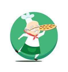 elderly overweight baker holds pizza in hand vector image