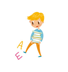 elementary school student carrying stack of books vector image