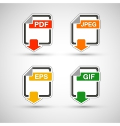 File format flat icon set vector image