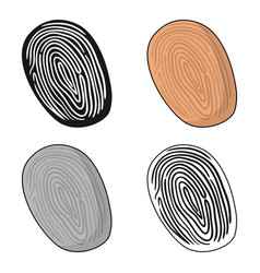 Fingerprint icon in cartoon style isolated on vector